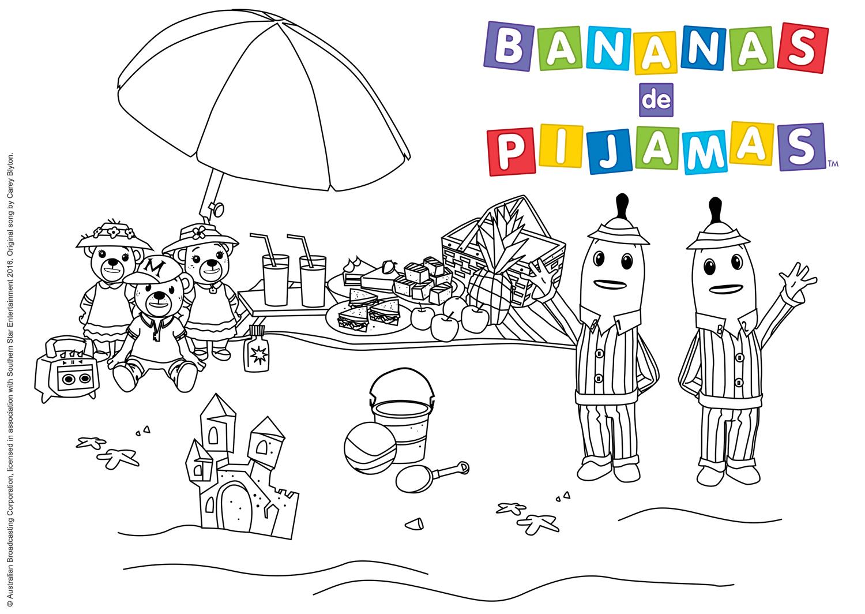 Vamos colorir o piquinique na praia dos Bananas.