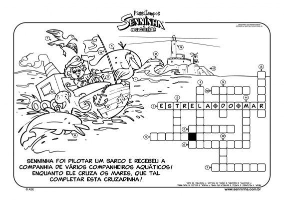 Enquanto Senninha cruza os mares, que tal completar essa cruzadinha.